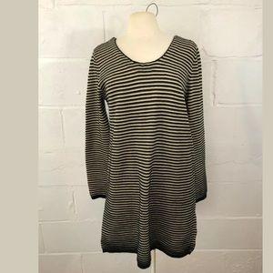 Knot Sisters Striped Sweater Dress Black/Tan Strip